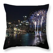Pittsburgh Fireworks At Night Throw Pillow