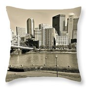 Pittsburgh In Sepia Throw Pillow