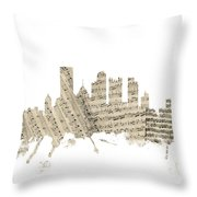 Pittsburgh Pennsylvania Skyline Sheet Music Cityscape Throw Pillow