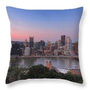 Pittsburgh Skyline At Sunset Throw Pillow