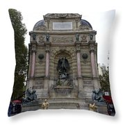 Place Saint-michel Statue And Fountain In Paris France Throw Pillow