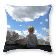 Plane Viewing From The Truck Bed Throw Pillow