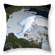 Planet Earth Showing Sea Ice Coverage Throw Pillow