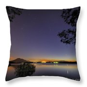 Planetary Conjunction Reflections At The Lake Mercury And Venus Throw Pillow