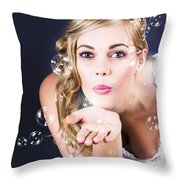Playful Bride Blowing Bubbles At Wedding Reception Throw Pillow