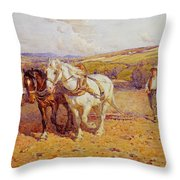 Ploughing Throw Pillow