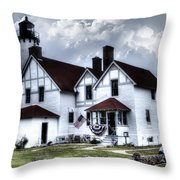 Point Iroquois Lighthouse Michigan Throw Pillow