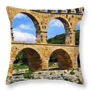 Pont Du Gard In Southern France Throw Pillow