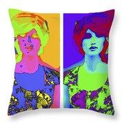 Pop Art Girl Throw Pillow