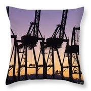Port Of Seattle Cranes Silhouetted Throw Pillow