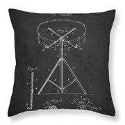 Portable Drum Patent Drawing From 1903 - Dark Throw Pillow by Aged Pixel