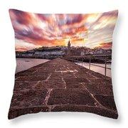 Porthleven Pier Throw Pillow