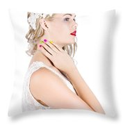 Portrait Of A Beautiful Bride Throw Pillow