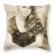 Portrait Of A Vintage Lady Throw Pillow