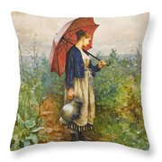 Portrait Of A Woman With Umbrella Gathering Water Throw Pillow