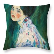 Portrait Of A Young Woman Throw Pillow by Gustav Klimt