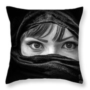 Portrait Of Beautiful Arab Woman With Brown Eyes Wearing Black S Throw Pillow