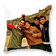 Portuguese Teens Wish A Happy New Year In Nazarre-portugal  Throw Pillow