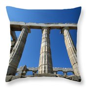 Poseidon Temple Throw Pillow by George Atsametakis