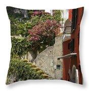 Positano Street Scene Throw Pillow