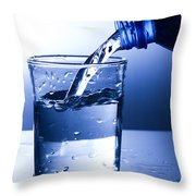 Pouring Fresh Water Into A Glass Throw Pillow by Michal Bednarek