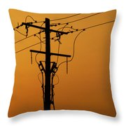 Power Line Sunset Throw Pillow
