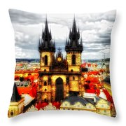 Prague Church Of Our Lady Before Tyn Throw Pillow