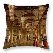 Prayer In The Mosque Throw Pillow