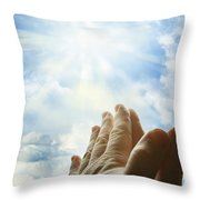 Prayer Throw Pillow by Les Cunliffe