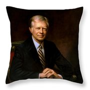 President Jimmy Carter Painting Throw Pillow