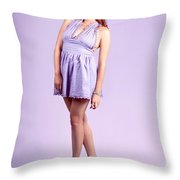 Pretty Brunette Pin Up Woman In Purple Dress Throw Pillow