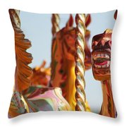 Pretty Carousel Horses Throw Pillow