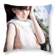Pretty Young Fashion Model Throw Pillow