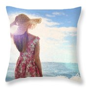 Pretty Young Woman Looking Out To Sea Throw Pillow