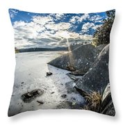 Price Lake Frozen Over During Winter Months In North Carolina Throw Pillow
