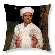 Priest At Ancient Rock Hewn Churches Of Lalibela Ethiopia Throw Pillow