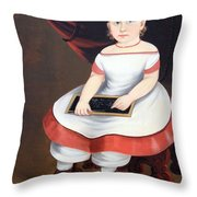 Prior Hamblin School's Little Girl With Slate Throw Pillow