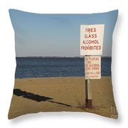 Prohibited Items Sign At Sandy Point Throw Pillow