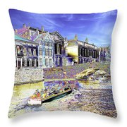 Psychedelic Bruges Canal Scene Throw Pillow