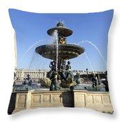 Public Fountain At The Place De La Concorde In Paris France Throw Pillow