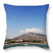 Puerto Banus Beach Throw Pillow