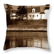 Pumpkin Island Lighthouse Throw Pillow