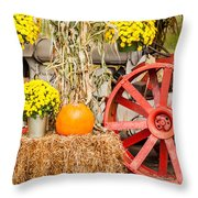 Pumpkins Next To An Old Farm Tractor Throw Pillow