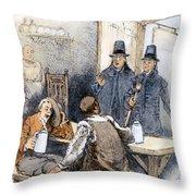 Puritan Tavern Inspection Throw Pillow