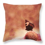 Purple Echinacea Flower Throw Pillow
