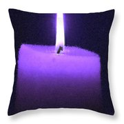 Purple Lit Candle Throw Pillow