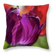 Purple Tulip Macro Throw Pillow
