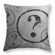 Question Mark Background Bw Throw Pillow
