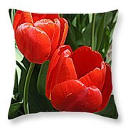 Radiant In Red - Tulips Throw Pillow