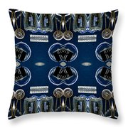 Radio Parts In Blue Throw Pillow